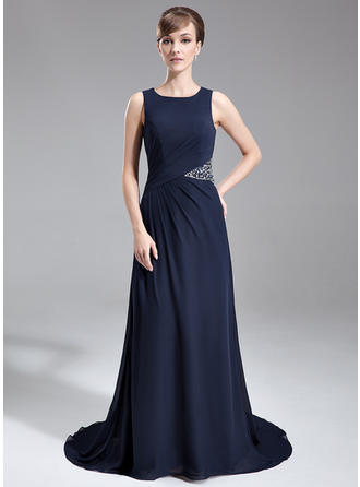 Ruffle Beading Scoop Neck Sexy Chiffon Mother of the Bride Dresses