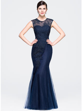 Chic Tulle Lace Trumpet/Mermaid Zipper Up Evening Dresses