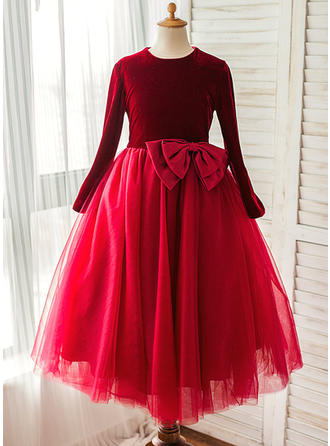 Scoop Neck A-Line/Princess Flower Girl Dresses Satin/Tulle Bow(s) Long Sleeves Tea-length