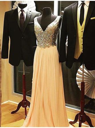 Chiffon Sleeveless A-Line/Princess Prom Dresses V-neck Beading Sweep Train