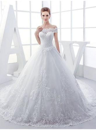 Ball-Gown Off-The-Shoulder Royal Train Wedding Dresses With Beading Appliques Lace