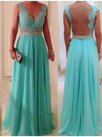 Chiffon Lace Sleeveless A-Line/Princess Bridesmaid Dresses Scoop Neck Beading Floor-Length