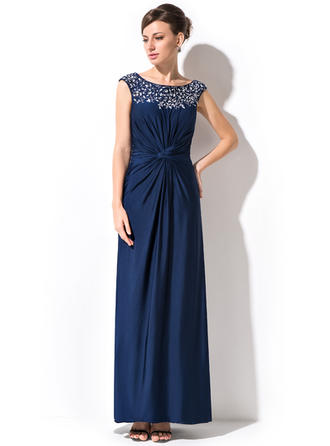 Sheath/Column Jersey Sleeveless Scoop Neck Ankle-Length Zipper Up Mother of the Bride Dresses