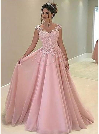 Tulle Sleeveless A-Line/Princess Prom Dresses Sweetheart Appliques Lace Floor-Length (018210922)