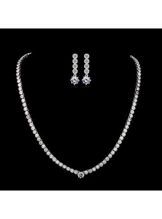 Jewelry Sets Zircon/Platinum Plated Fold-over Clasp Pierced Ladies' Wedding & Party Jewelry
