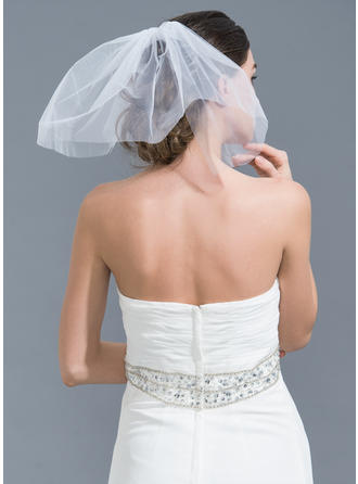 Russian Veils Tulle Two-tier Classic With Cut Edge Wedding Veils