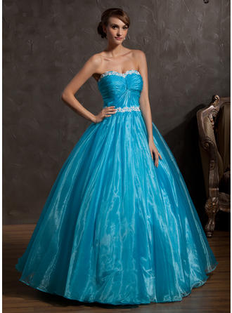 Ball-Gown Sweetheart Floor-Length Organza Prom Dress With Ruffle Appliques Lace