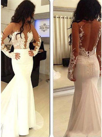 Trumpet/Mermaid Scoop Neck Sweep Train Evening Dress With Appliques Lace