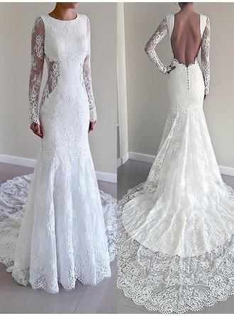 Flattering Court Train Trumpet/Mermaid Wedding Dresses Scoop Lace Long Sleeves