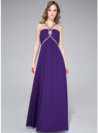 Chiffon Sleeveless Empire Prom Dresses V-neck Ruffle Beading Floor-Length