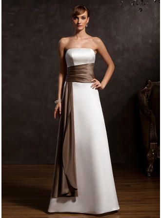 A-Line/Princess Satin Sleeveless Strapless Floor-Length Zipper Up Mother of the Bride Dresses