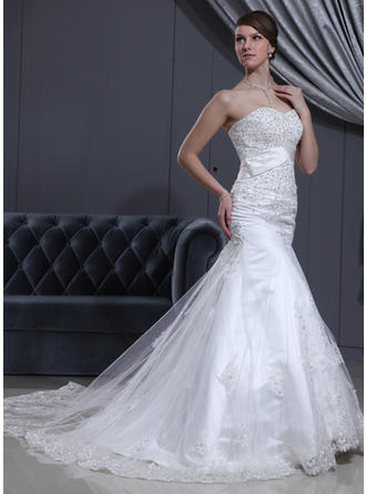 Trumpet/Mermaid Cathedral Train Wedding Dress With Lace Beading