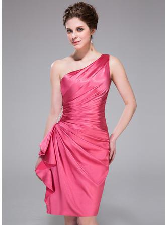 Sheath/Column One-Shoulder Charmeuse Sleeveless Knee-Length Beading Cascading Ruffles Cocktail Dresses
