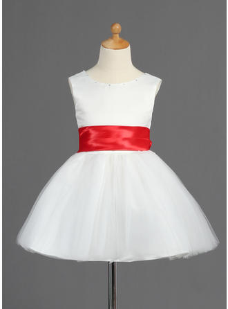 A-Line/Princess Scoop Neck Short/Mini With Sash/Bow(s) Satin/Tulle Flower Girl Dress