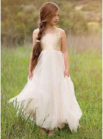 Fashion Scoop Neck A-Line/Princess Flower Girl Dresses Floor-length Tulle/Sequined Sleeveless