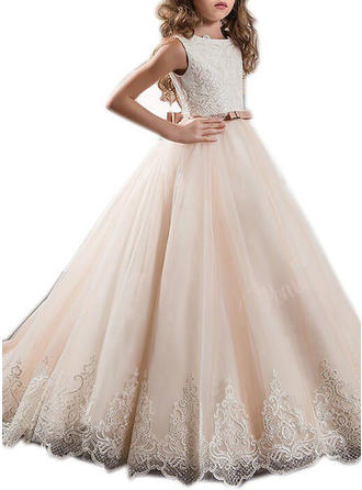 Ball Gown Flower Girl Dresses Tulle Sash/Appliques/Bow(s) Sleeveless Sweep Train
