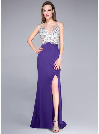 Sexy Trumpet/Mermaid Tulle Jersey Sweep Train Sleeveless Prom Dresses