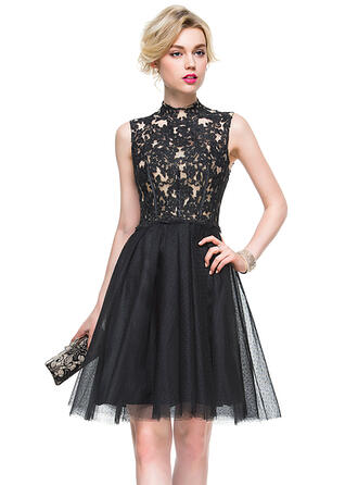 A-Line High Neck Knee-Length Tulle Lace Cocktail Dress