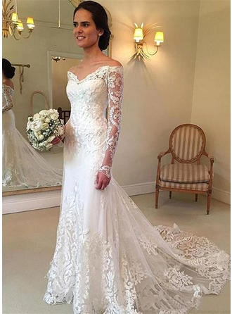 Off-The-Shoulder Floor-Length Court Train - Trumpet/Mermaid Tulle Wedding Dresses