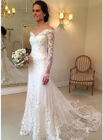 Elegant Floor-Length Court Train Trumpet/Mermaid Wedding Dresses Off-The-Shoulder Tulle Long Sleeves