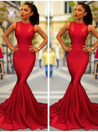 Charmeuse Sleeveless Trumpet/Mermaid Prom Dresses Scoop Neck Court Train