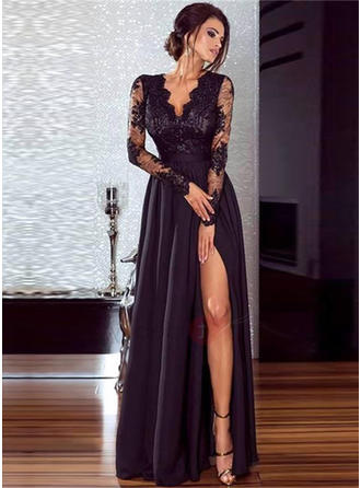 Chiffon Long Sleeves A-Line/Princess Prom Dresses V-neck Lace Split Front Floor-Length