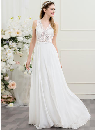 Sweep Train A-Line/Princess Chiffon Chic Wedding Dresses Sleeveless