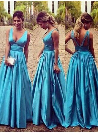 A-Line/Princess V-neck Floor-Length Taffeta Prom Dress With Ruffle