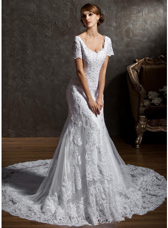 Chic Cathedral Train Trumpet/Mermaid Wedding Dresses Sweetheart Tulle Lace Short Sleeves