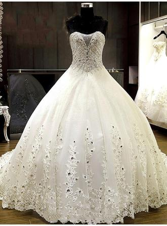 Sweetheart Ball-Gown Wedding Dresses Tulle Beading Appliques Lace Sleeveless Chapel Train
