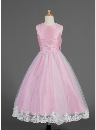 A-Line/Princess Scoop Neck Ankle-length With Lace/Bow(s) Taffeta/Tulle Flower Girl Dress
