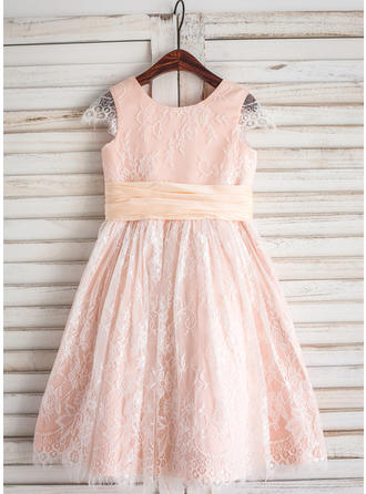 A-Line/Princess Tea-length Flower Girl Dress - Lace Sleeveless Scoop Neck