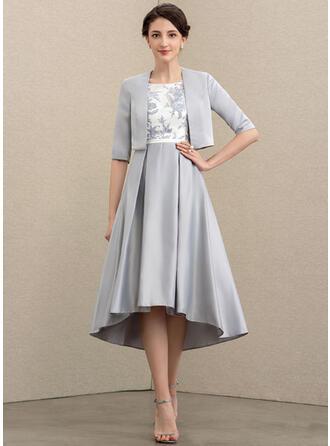 A-Line Scoop Neck Asymmetrical Satin Cocktail Dress With Appliques Lace