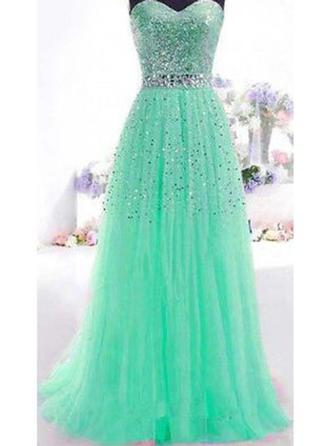 Newest Tulle Prom Dresses A-Line/Princess Floor-Length Sweetheart Sleeveless