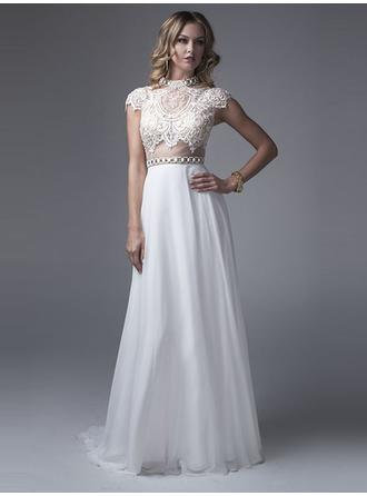 A-Line/Princess High Neck Sweep Train Evening Dresses With Lace