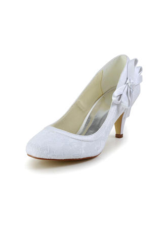 Women's Closed Toe Cone Heel Satin With Bowknot Wedding Shoes