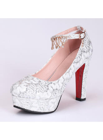 Women's Closed Toe Platform Pumps Chunky Heel Leatherette With Imitation Pearl Sequin Wedding Shoes