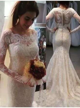 Scoop Trumpet/Mermaid Wedding Dresses Lace Appliques Lace Long Sleeves Sweep Train