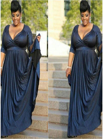 A-Line/Princess V-neck Court Train Mother of the Bride Dresses With Ruffle