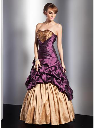 A-Line/Princess Sweetheart Floor-Length Taffeta Prom Dress With Ruffle Lace Beading Flower(s)