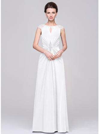 Jersey Sleeveless Mother of the Bride Dresses Scoop Neck A-Line/Princess Ruffle Lace Beading Floor-Length