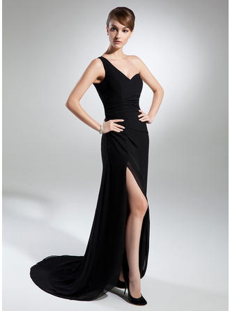 Sheath/Column One-Shoulder Sweep Train Evening Dresses With Ruffle Split Front