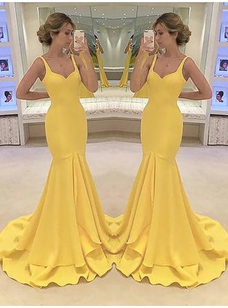 Charmeuse Sleeveless Trumpet/Mermaid Prom Dresses Sweetheart Cascading Ruffles Sweep Train (018210991)