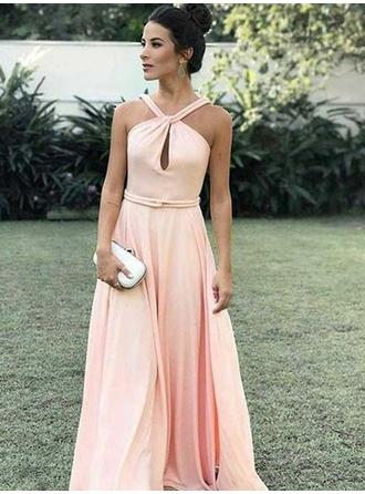 A-Line/Princess Chiffon Prom Dresses Magnificent Floor-Length Halter Sleeveless