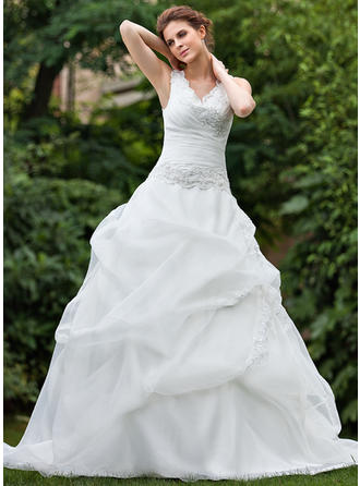 Luxurious Cathedral Train Ball-Gown Wedding Dresses Sweetheart Organza Sleeveless