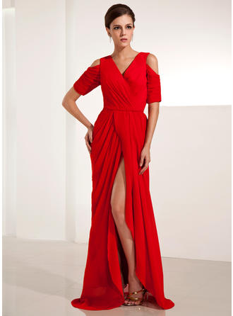 Sheath/Column V-neck Sweep Train Evening Dress With Ruffle Split Front