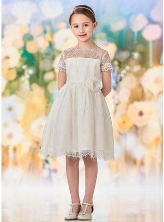 A-Line/Princess Scoop Neck Knee-length Lace Short Sleeves Flower Girl Dresses (010216427)