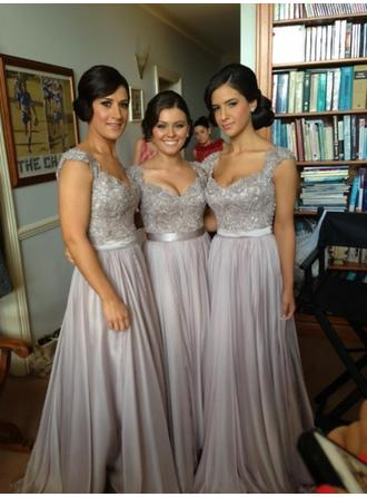 A-Line/Princess Chiffon Lace Bridesmaid Dresses Beading Sequins Sweetheart Sleeveless Floor-Length