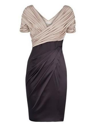 Chiffon Satin Short Sleeves Mother of the Bride Dresses V-neck Sheath/Column Ruffle Knee-Length