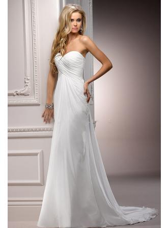 Empire Sweetheart Court Train Wedding Dresses With Ruffle